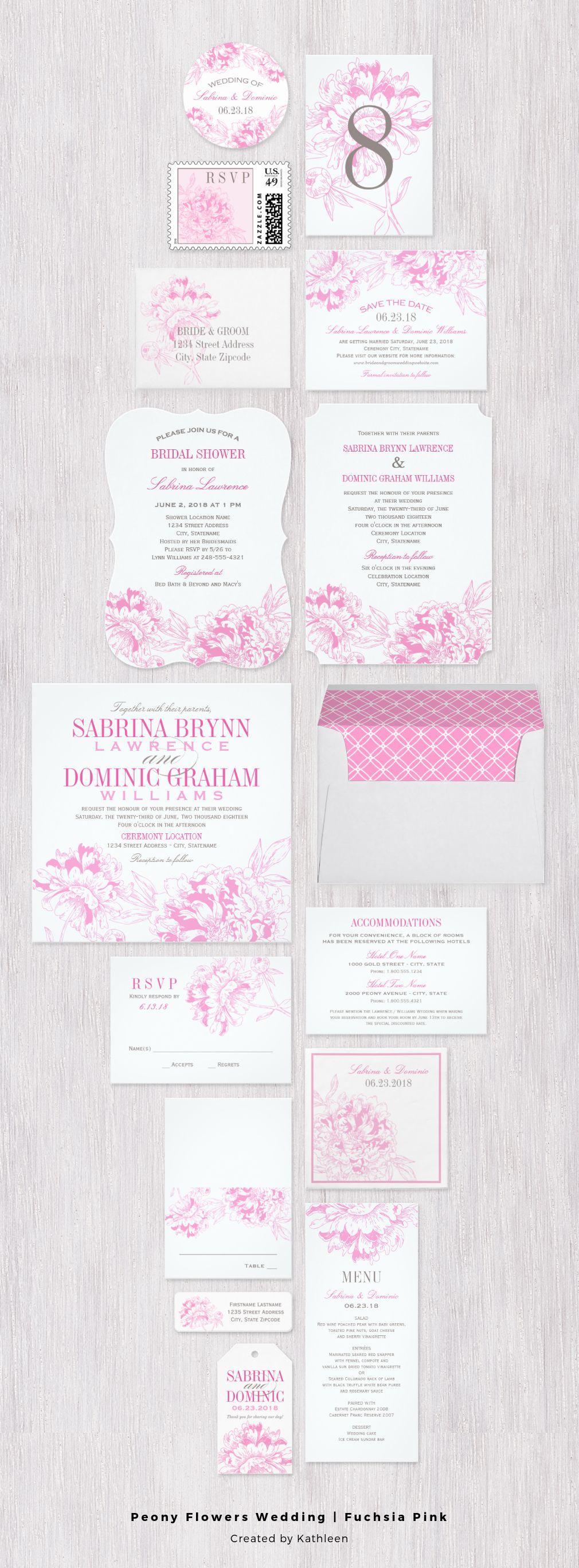 romantic peony wedding invitation in fuchsia pink and gray