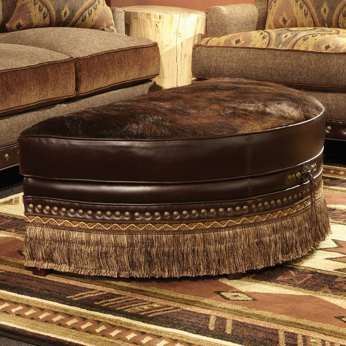 Phenomenal Brindle Chocolate Half Moon Cowhide Ottoman Log Home Beatyapartments Chair Design Images Beatyapartmentscom