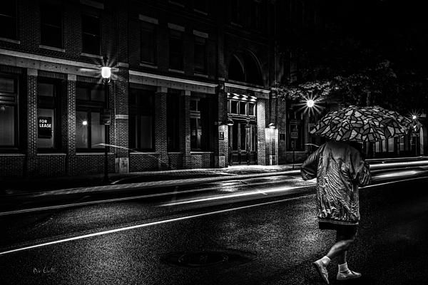 Walking in the rain night people original fine art black and white night street