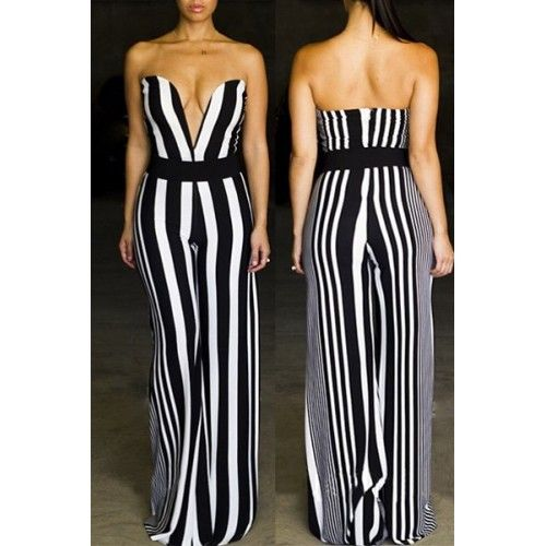 01add84baa1 Black and white striped V-neck jumpsuit. Sexy Women s Strapless Striped Wide -Leg ...