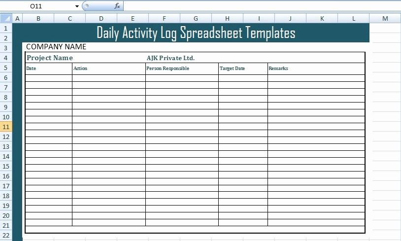 Daily Activity Report Template Excel New Get Daily Activity Log Spreadsheet Templates Free Excel Spreadsheet Template Daily Activities Activities