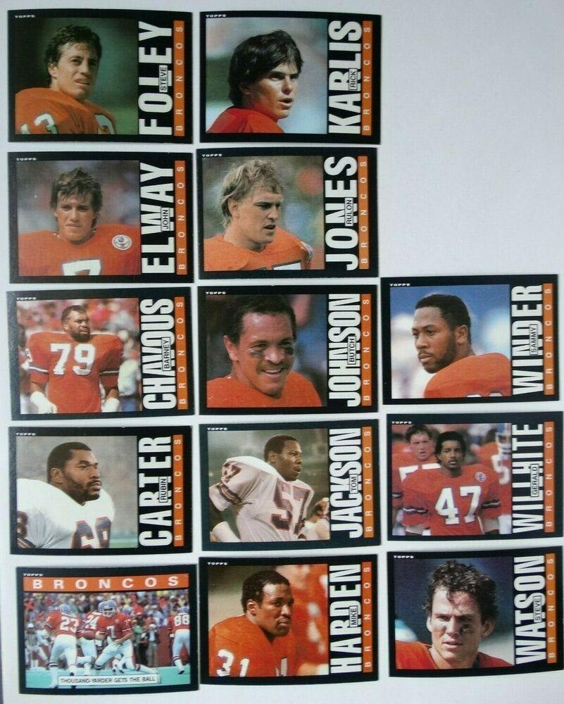 1985 topps denver broncos team set of 13 football cards