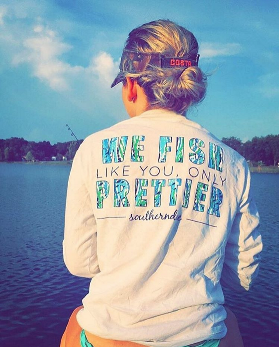 fff56a682804d What to wear fishing or on the boat Fish Prettier Sports Longsleeve Quick -  Dry from