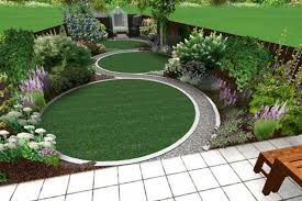 Small modern garden with two circular lawns and 'S' shaped connecting path is part of lawn Design Modern - Small modern garden with two circular lawns and 'S' shaped connecting path  Source by vanyakirilova