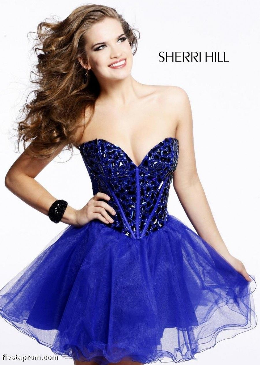 Royal Blue Strapless Short Dress With Rhinestone Corset Top Sherri Hill  1403 Royal Blue Corset Party Dress