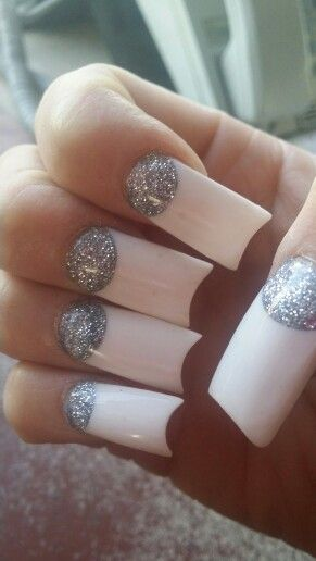 White Tips Half Moon Shape With Silver Glitter On Bottom Nail