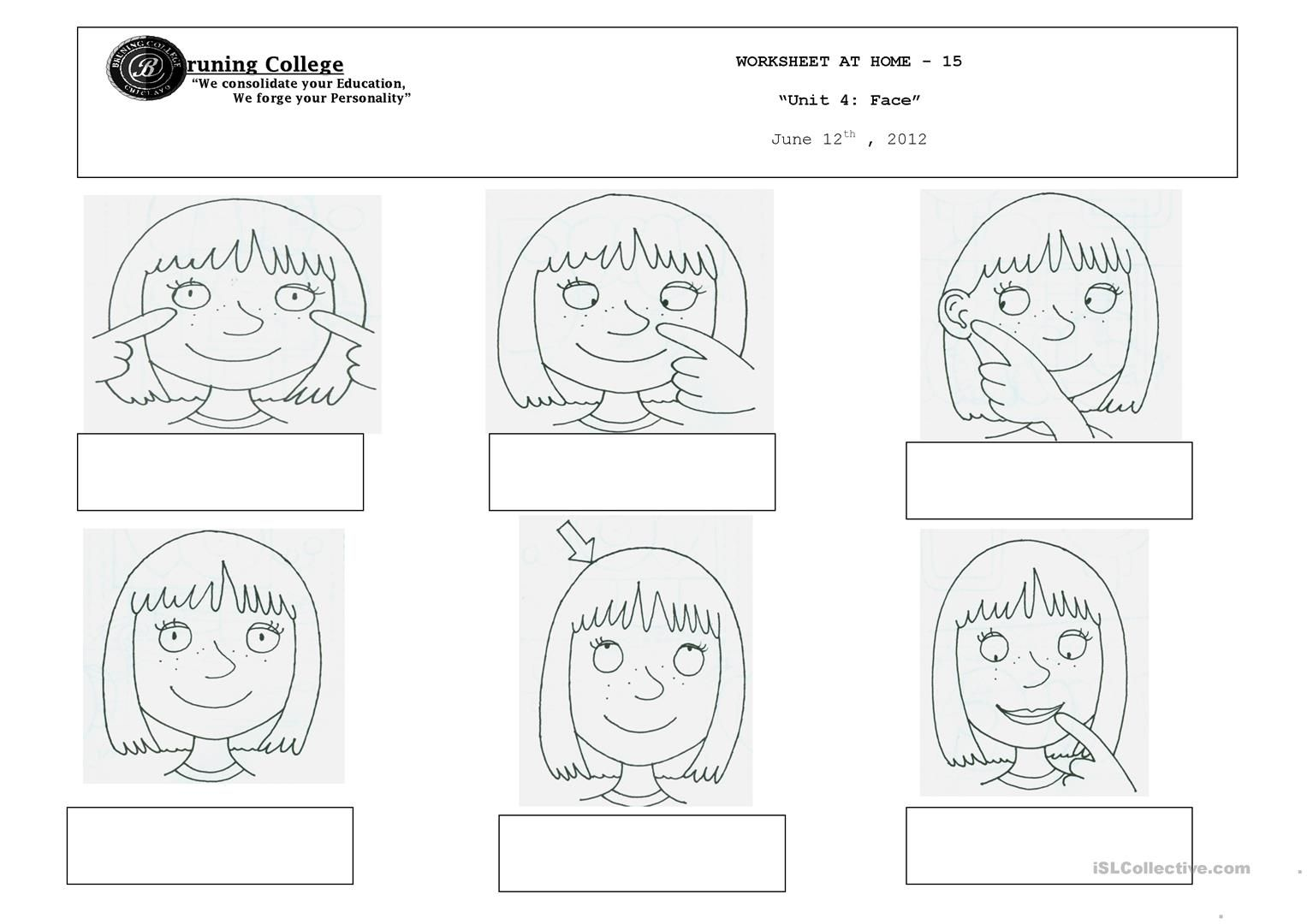 31 Free Esl Face Parts Worksheets Kindergarten Body
