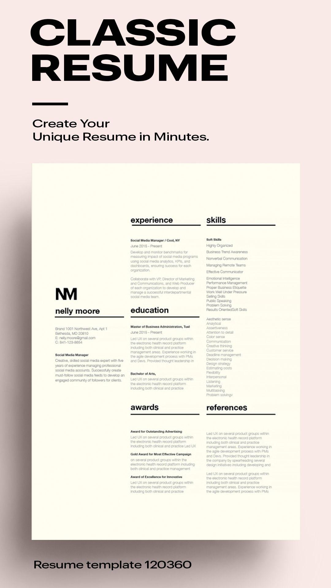 Classic Resume Template [120360] Resume, Resume words