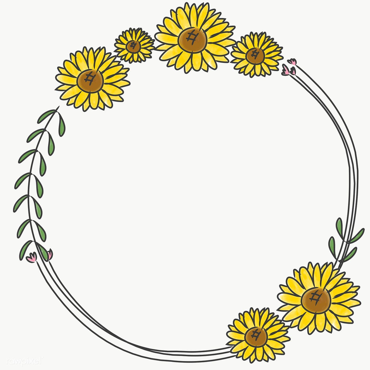 Hand Drawn Sunflower Wreath Transparent Png Free Image By Rawpixel Com Pimmy In 2020 Wreath Illustration Wreath Drawing Flower Wreath Illustration