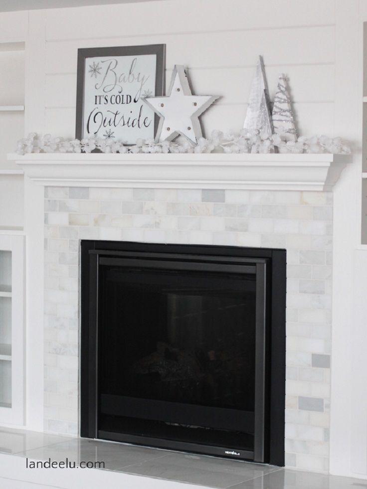 Winter White Mantel Decor with A DIY Mirror Art Decoration - 13 - christmas fireplace decor