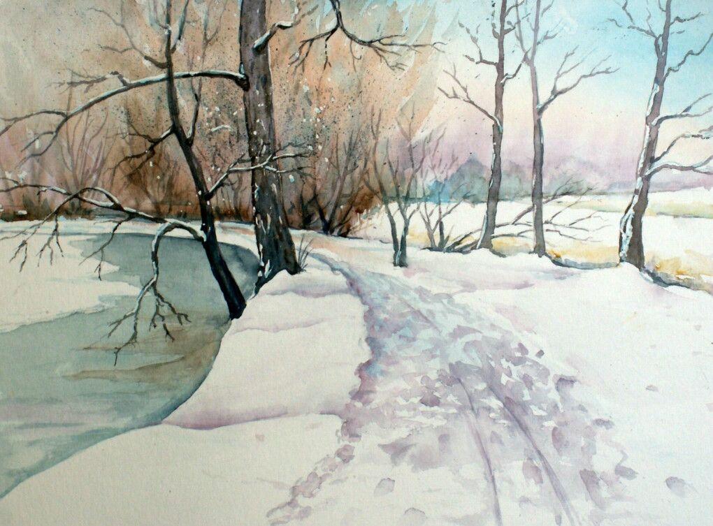 Winter Im Park Winterlandschaft Wasserfarben Landschaften Und
