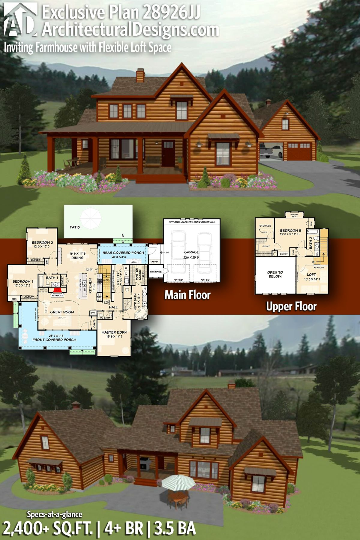 Plan 28926jj Inviting And Exclusive Farmhouse With Flexible Loft Space Log Home Floor Plans Log Cabin Floor Plans Cabin Floor Plans