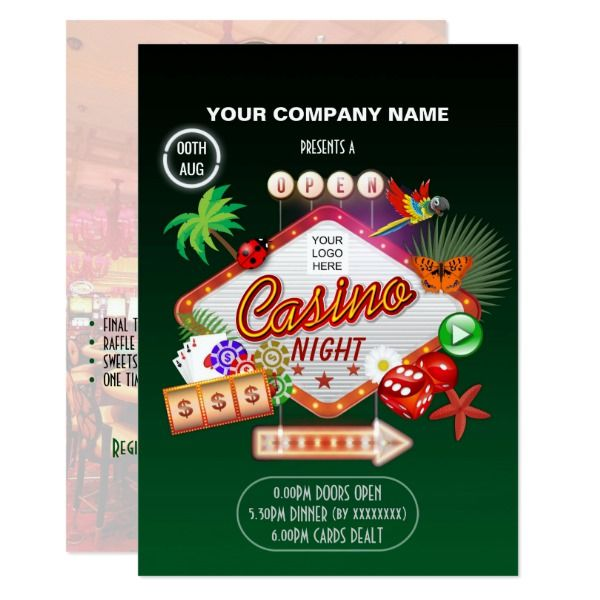 corporate summer holidays casino night add photo card custom office