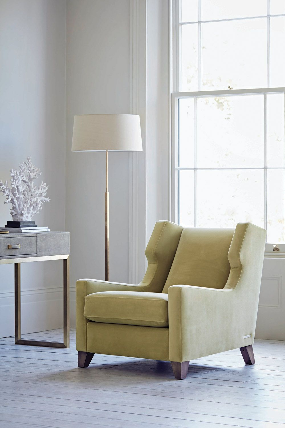 Merveilleux Gold Armchair   A Comfy Contemporary Twist On A Classic Wing Back Chair.