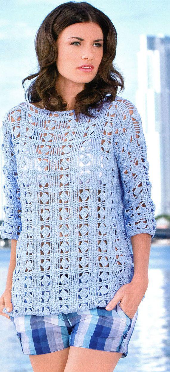 Patrón-una blusa de primavera/verano/otoño de ganchillo