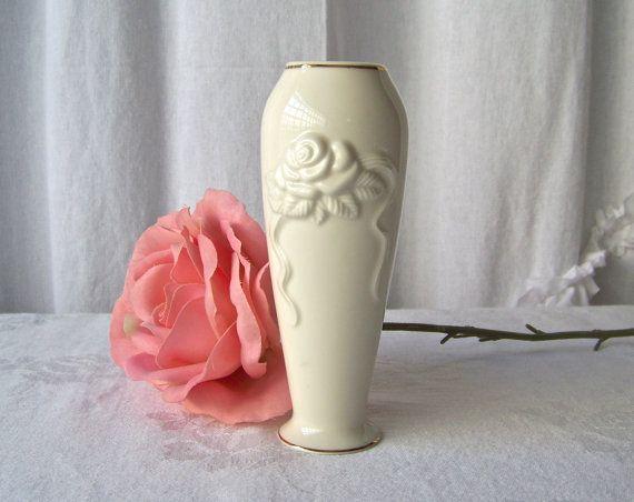Vintage Lenox Vase Porcelain Embossed Rose Bud Lenox Vase Rose Buds Vase