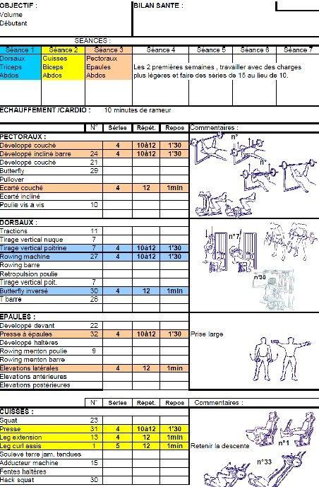 Programmes objectif volume musculaire de exercices de for Programme de musculation