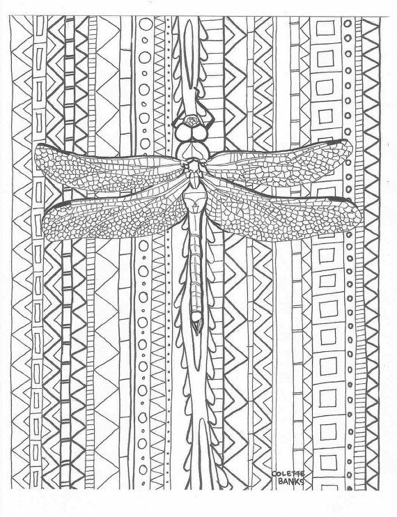 Aztec Coloring Pages Pdf : Dragonfly zentangle aztec adult coloring page of a