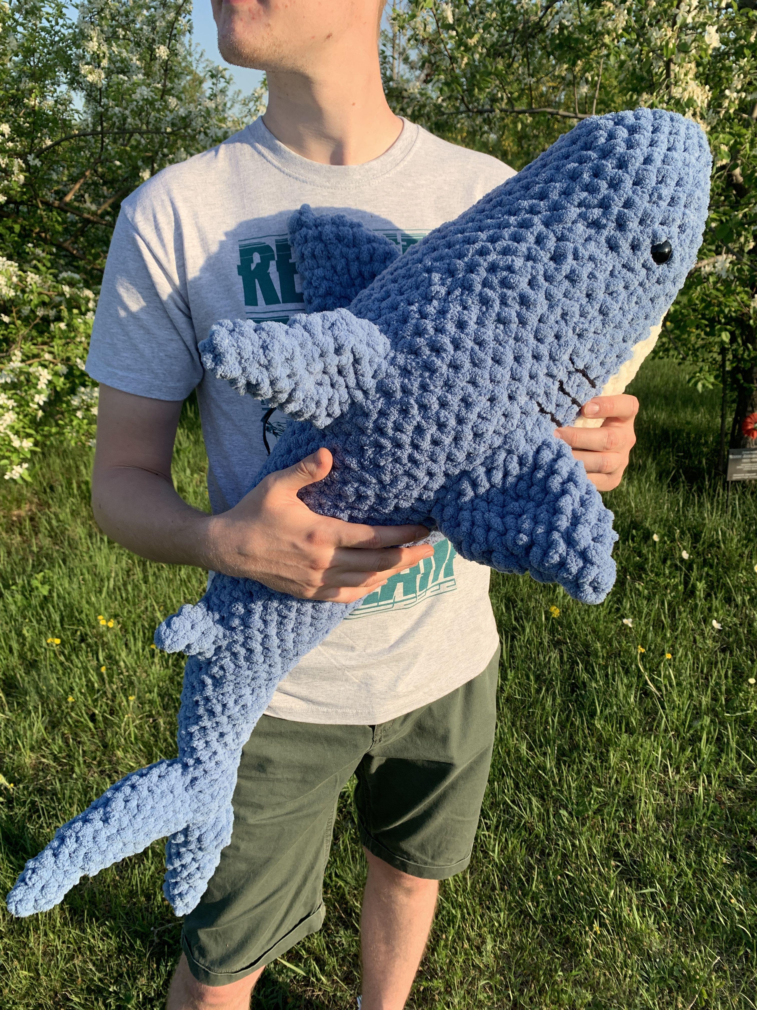 knitted shark, crocheted shark, soft shark, plush shark in ...