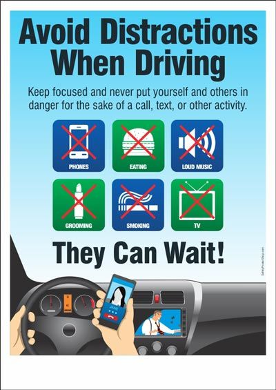 Road safety poster: Avoid Distractions When Driving ...