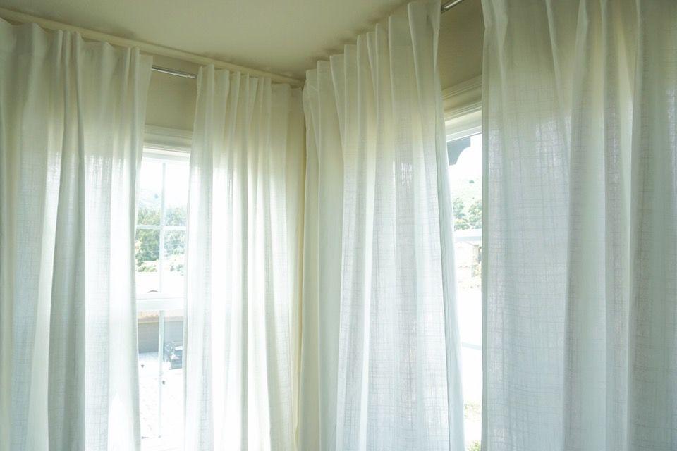 White Curtains Ikea Ritva Corner Windows Light