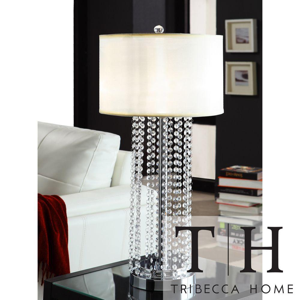 tribecca home saxton 1light crystal chrome table lamp shopping