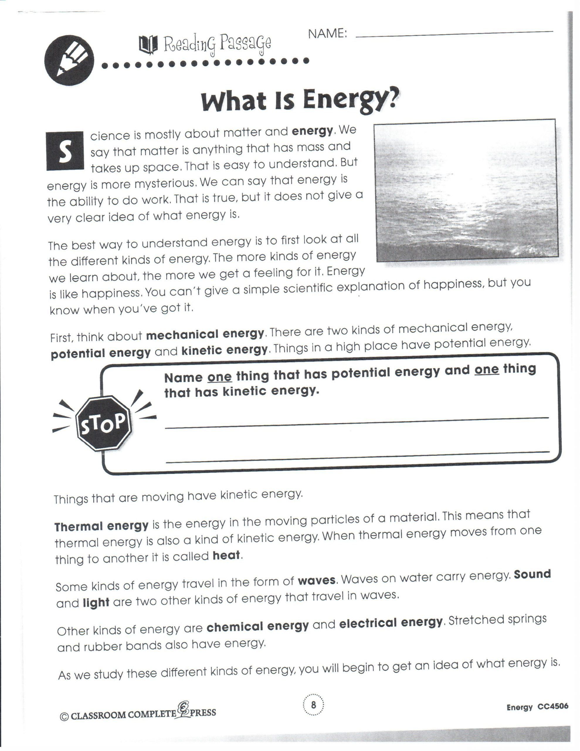 Physical Science Energy Worksheet Physical Science January 2013 Physical Science What Is Energy Reading Passages