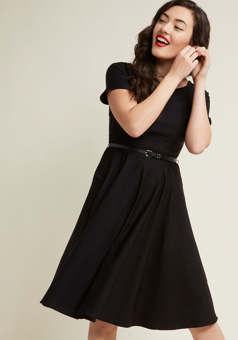 ba64aa4625aa7 Back to Classic Short Sleeve Dress in 1X | Products | Black midi ...
