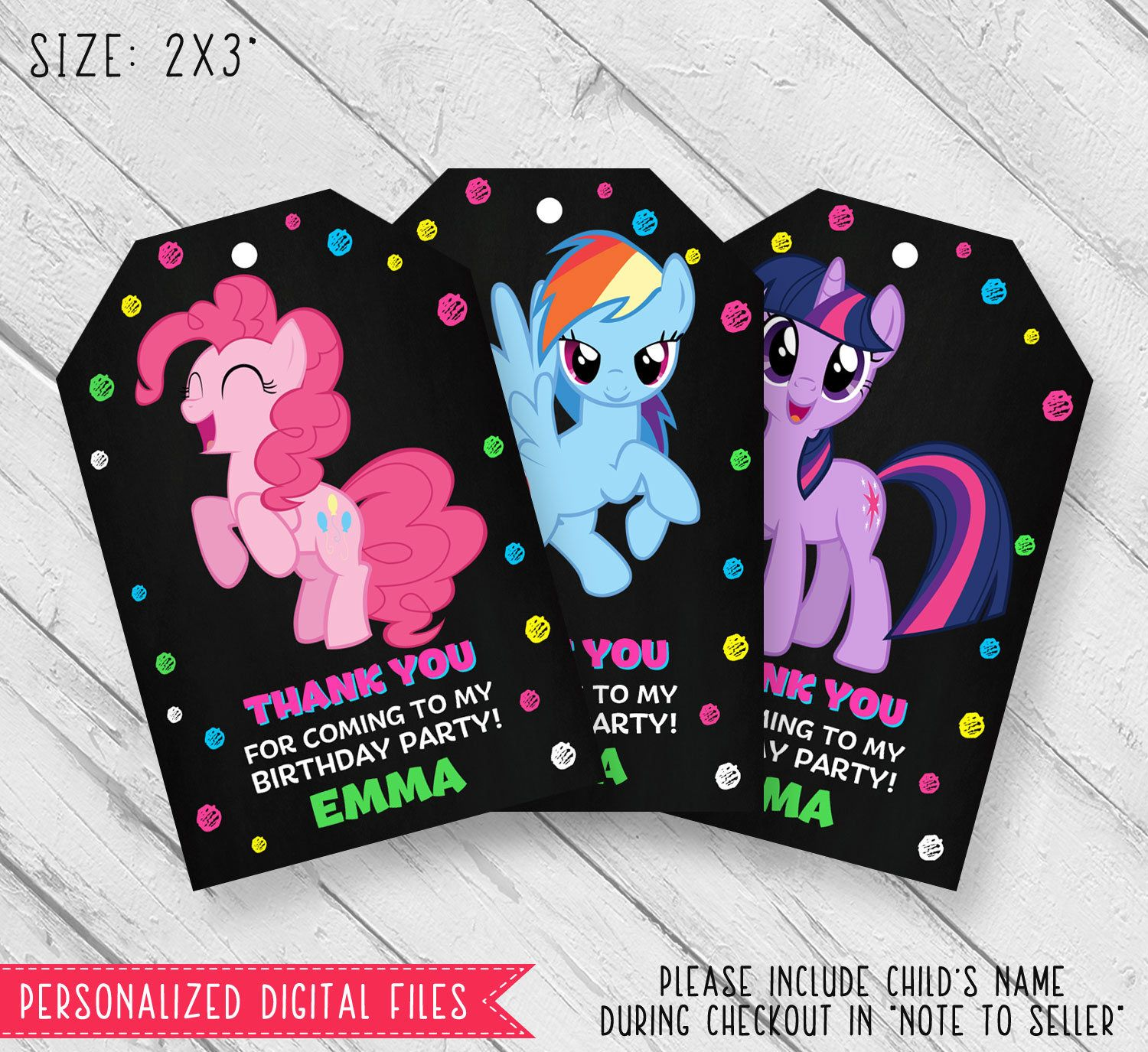 My little pony thank you card My little pony thank you tags My