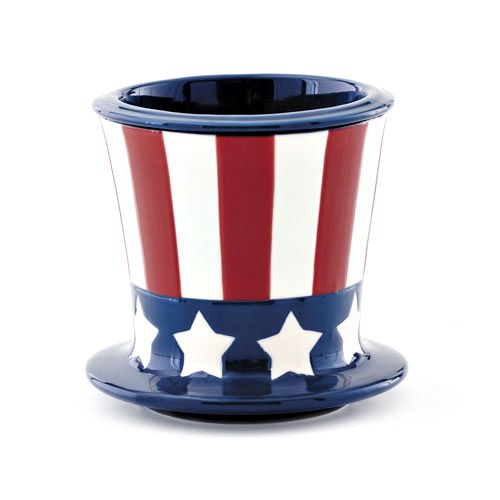 STARS AND STRIPES COOL DIP - Patriotic Cool Dip container for cold dips holds ice in the larger container below to keep the dip in the upper container cool for hours. Add more ice anytime for all day events. Uncle Sam's hat motif featuring stars and stripes. Fine, heavy stoneware.. Measures 5 3/4 x 5 1/2 inches.