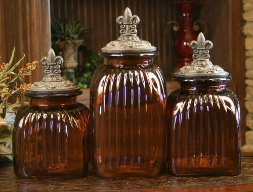 3 Piece Amber Canisters With Fleur De Lis Lids By Drake Design