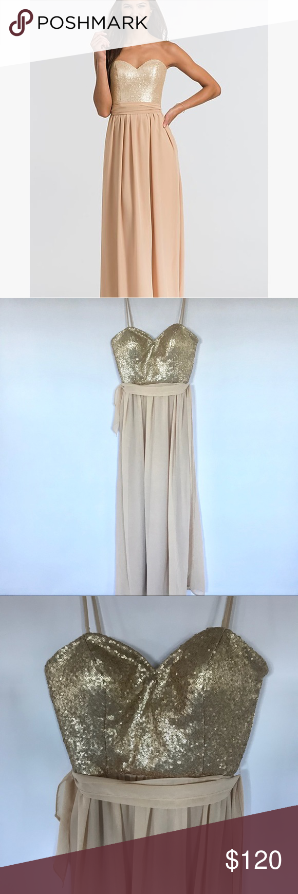 Bari jay champagne sequin long gown dress in my posh