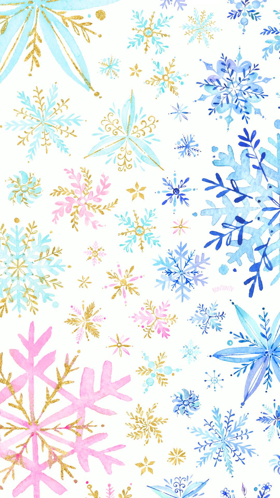 Phone Wallpapers Hd Watercolor Gold Snowflakes By Bonton Tv