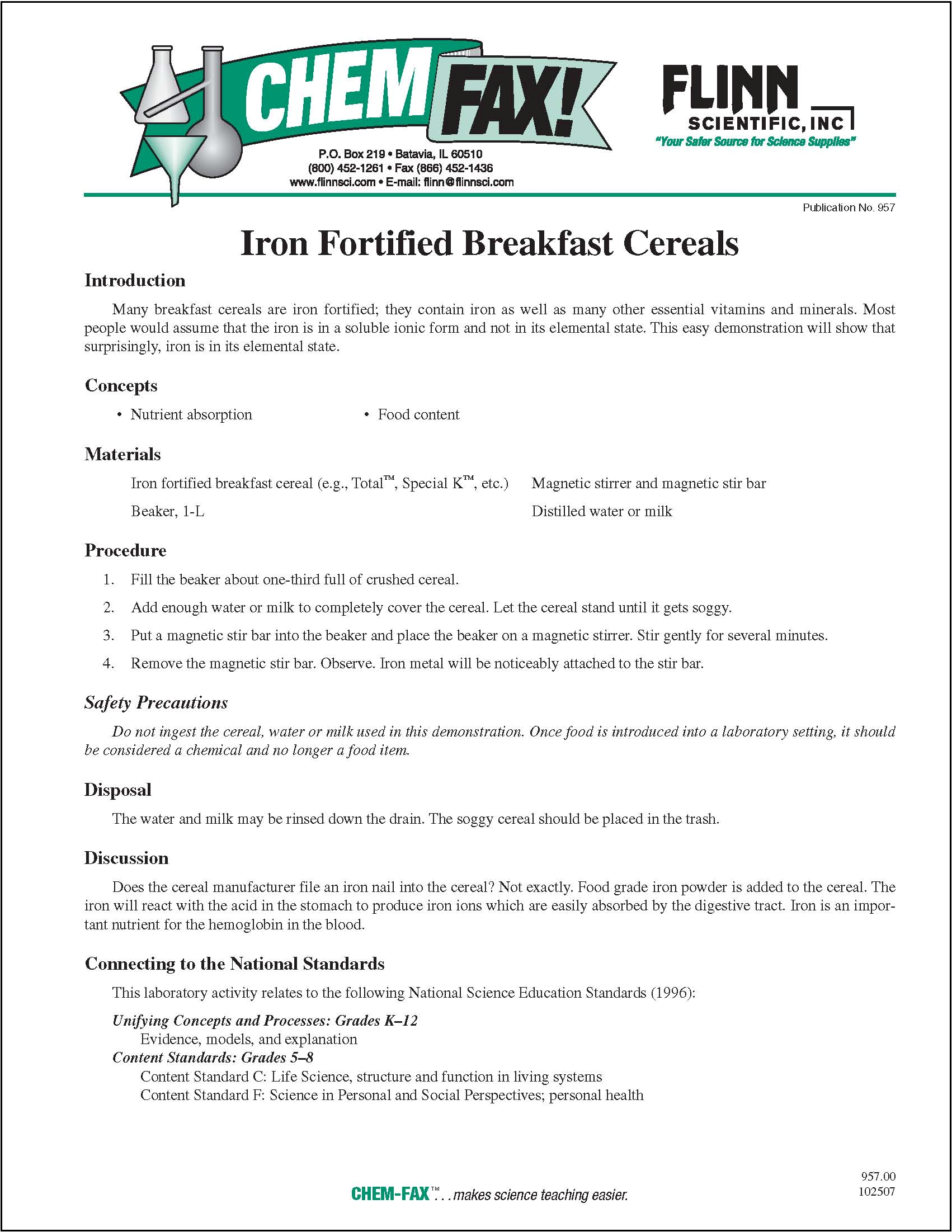 Lab Extract Iron From Breakfast Cereals