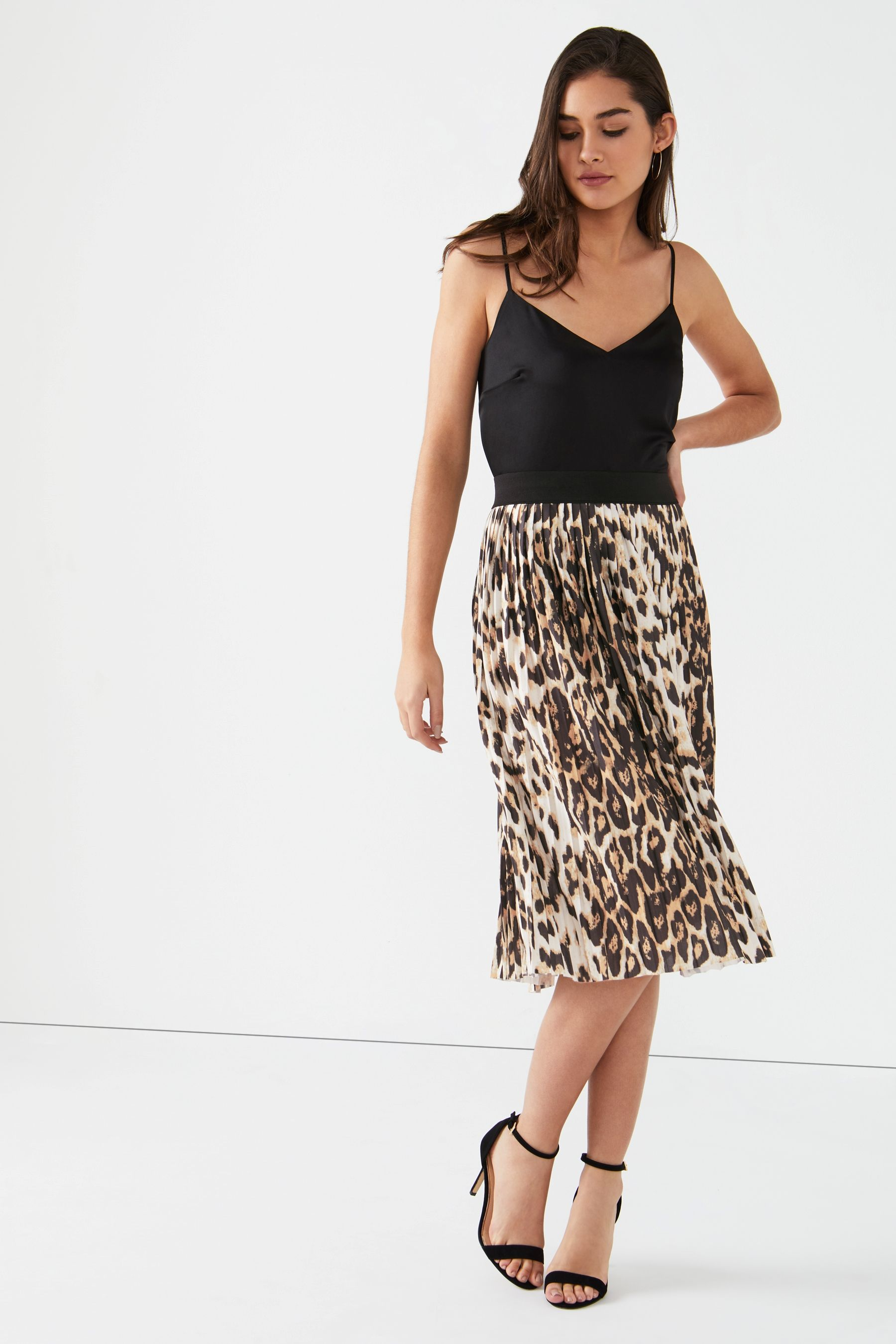 fef09ea98 Womens Lipsy Leopard Print Pleated Midi Skirt - Brown | Products ...