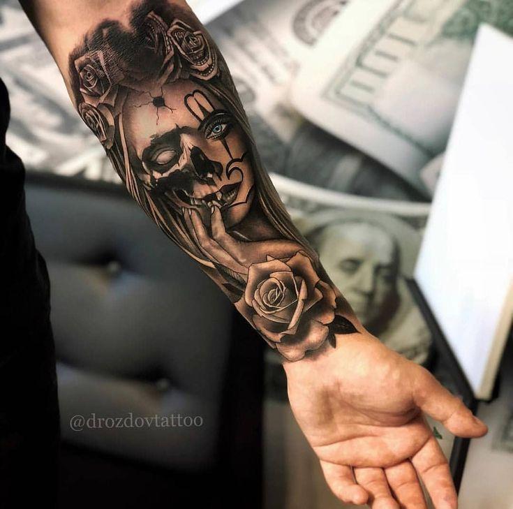 Unterarm Tattoo Mann Vorlagen Skull Sleeve 13