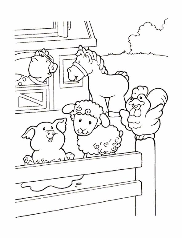 Coloring Page Little People Little People Farm Animal Coloring