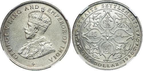 1 Dollar Straits Settlements 1826 1946 Silver George V Of The United Kingdom 1865 1936 Straits Settlements Straits Silver