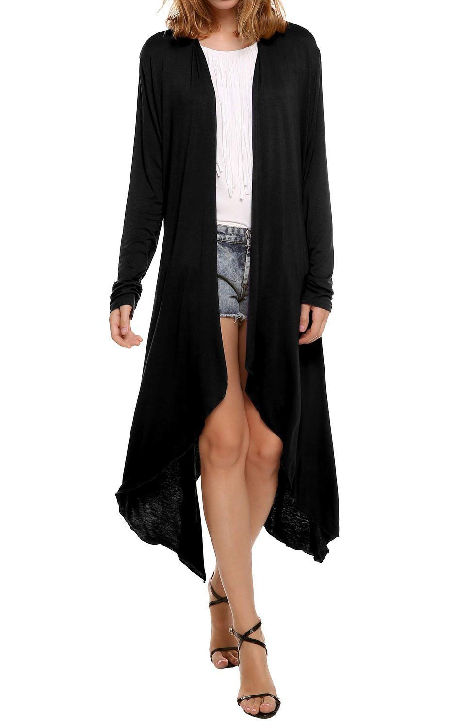 Elegant Casual Long Cardigans Blouse Shirt Women Kimono Solid ...