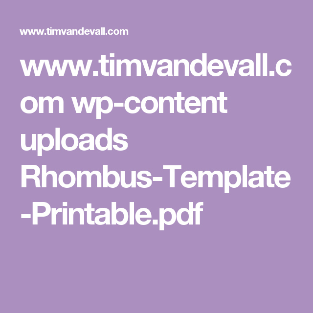 Www Timvandevall Com Wp Content Uploads Rhombus Template Printable