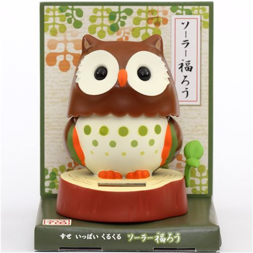 Red Brown Base Dark Brown Owl Solar Powered Bobble Head Toy From Japan 1 Bobble Bobble Head Brown Owl