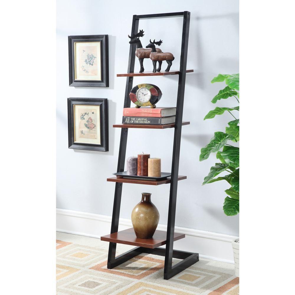 Designsgo black and cherry tier ladder bookcase ladder bookcase