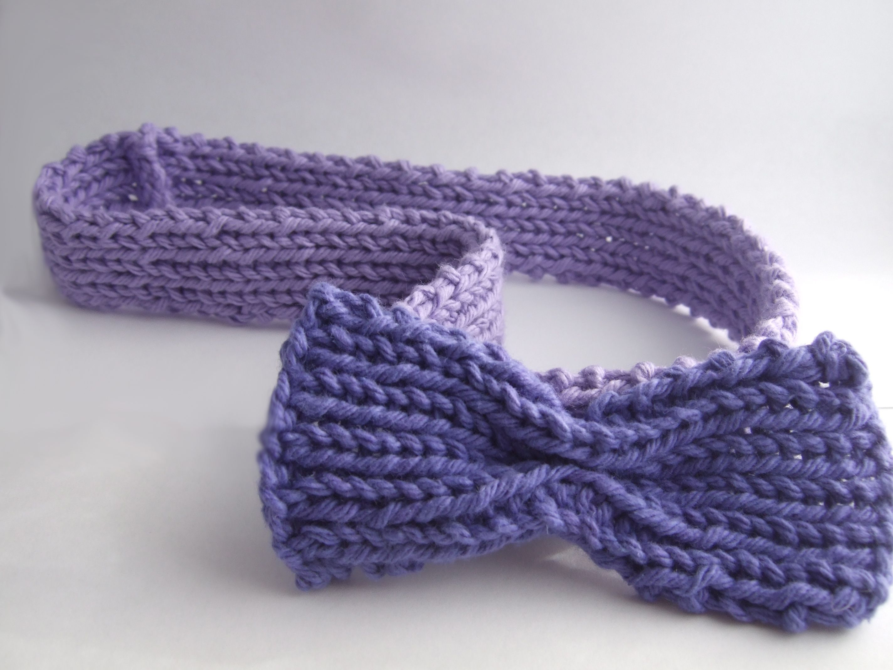 purple knit headband with bow | Knitting | Pinterest | Knitted ...