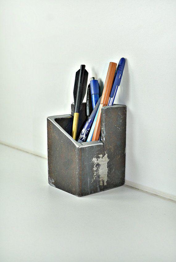 Metal Pen Holder Pencil Holder Industrial By Masterhandforged