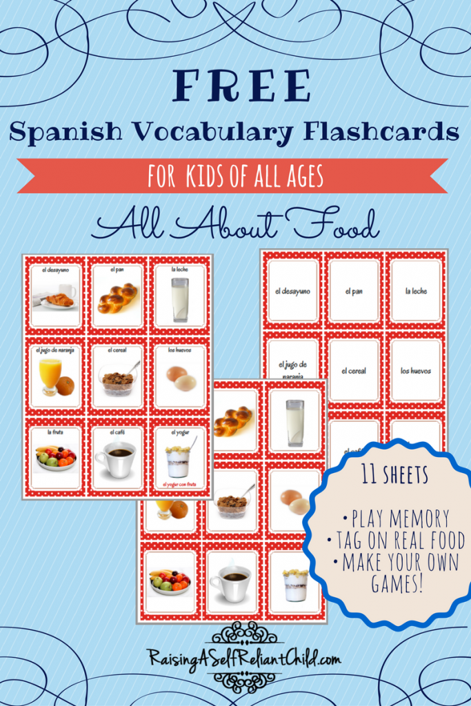 graphic regarding Spanish Printable named Cost-free Printable Spanish Vocabulary Flashcards Well prepared for