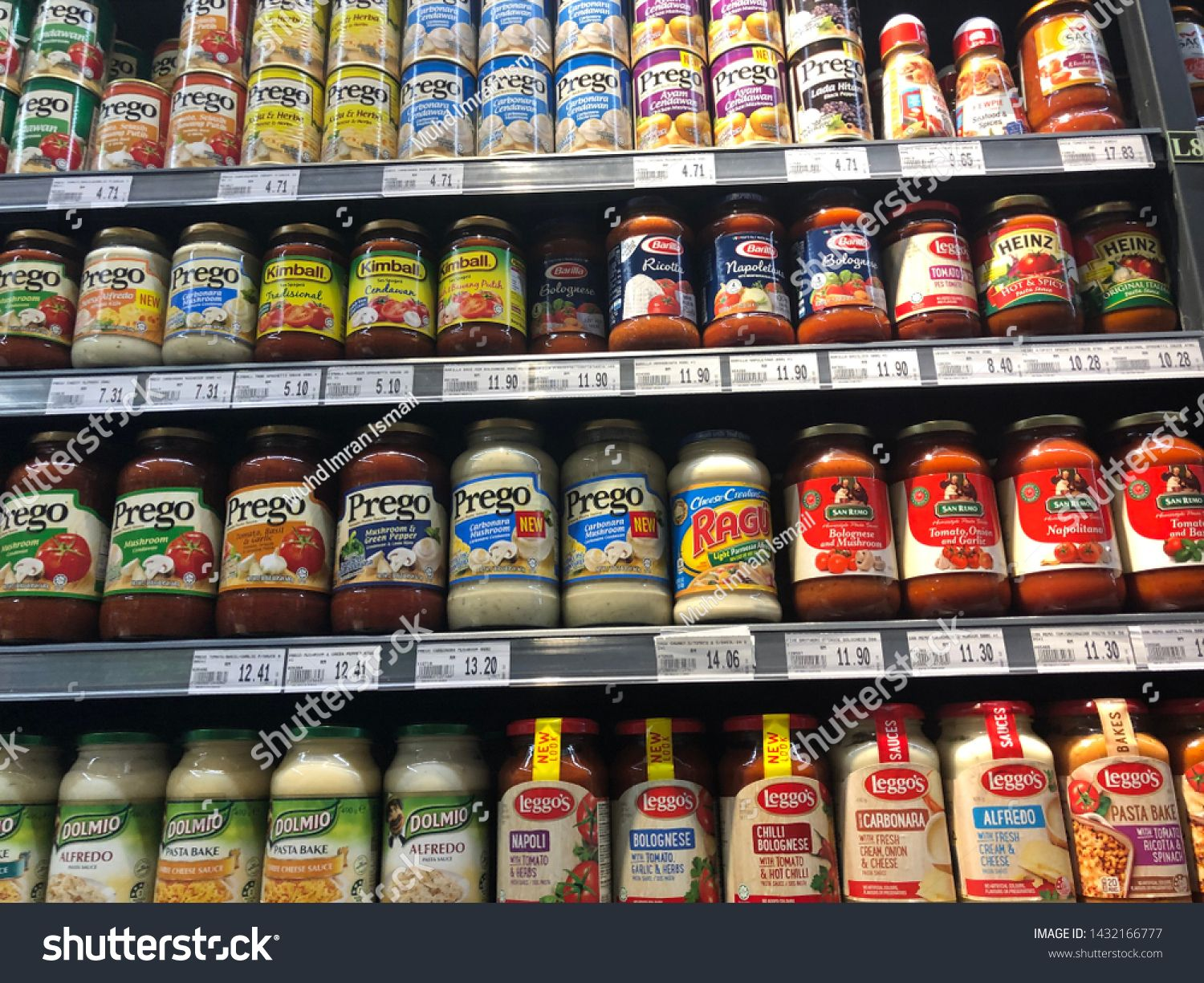 Kuala Lumpur  Circa 2019 Cans of spaghetti sauces on the shelf at a supermarket Most of the sauce brands are imported
