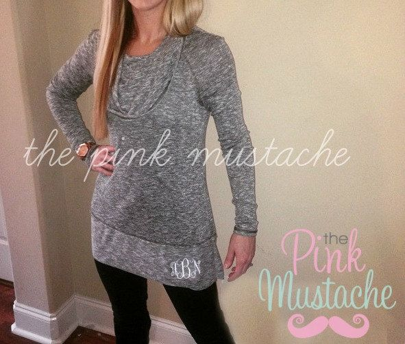Cowl Neck Monogrammed Sweater by PinkMustache1 on Etsy https://www ...