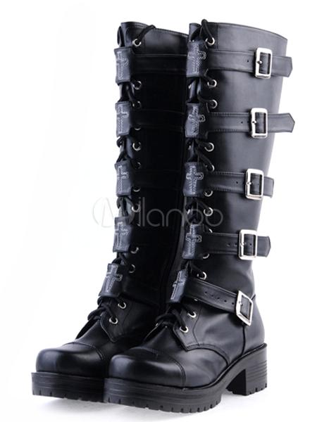 3165f91ce38c Gothic Black Lolita Boots Square Heels Platform Shoelace Straps ...