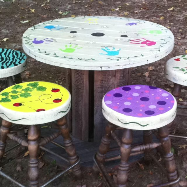 exciting cable spool kitchen table | Kids spool table and bar stools | YARD | Spool tables ...