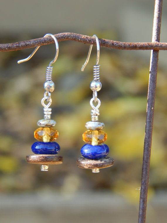 Multi-Color Stacked Bead Earrings.